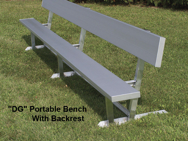 Portable Aluminum Outdoor Bench W Back 12 24 Ft Be Dg