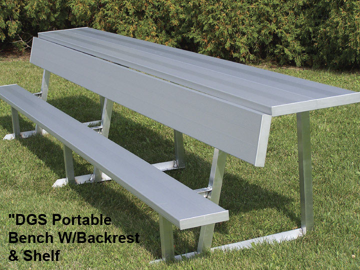 Portable Aluminum Bench WBackrest And Shelf BEDGS - Picnic table with backrest