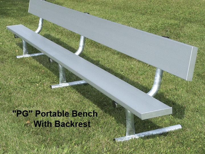 Portable Aluminum Bench w/Back - Galvanized Steel Legs (BE-PG**)